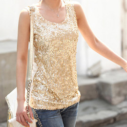 Wholesale Xl Gold Sequin Top - Wholesale-New Women Summer 2015 Plus Size 4XL Tank Top Cotton Blended Casual Shining Bling Sequin Sleeveless Tops Black Golden WBS109