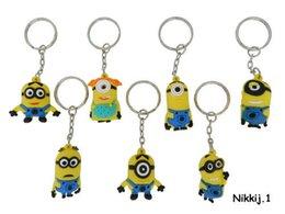 Wholesale Despicable Minion Precious - Hot 3D Eye Despicable Me 2 Minions Keychain Precious Milk Dad 2 Capsules Yellow People   Cartoon Pendant Key Chain