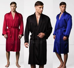 Wholesale Silk Onesies - Wholesale-Mens Silk Satin Pajamas Pajama Pyjamas PJS Sleepwear Robe Robes Nightgown Lounge wear U.S.S,M,L,XL,2XL,3XL Plus Black