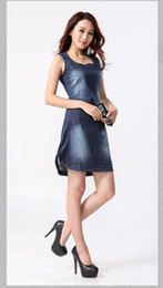 Wholesale Women Summer Jeans Dress - High Quality New Fashion Summer Womens Casual O-Neck Jeans Dresses Women Sleeveless Sexy Slim Knee-Length Denim Dress 576