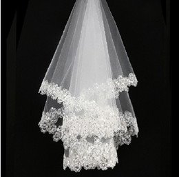 Wholesale Soft Tulle Veils - Hot Sale White Ivory Bridal Veils Sequined Beaded Soft Tulle Short Wedding Veils In Stock NO:53