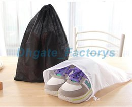 Wholesale shoe travel bag fabric - Promotion Non-woven Shoe Drawstring Travel Storage Shoe Dust-proof Tote Dust Bag Case Black White Pouch Tote Bag Dust-proof Shoe free fedex