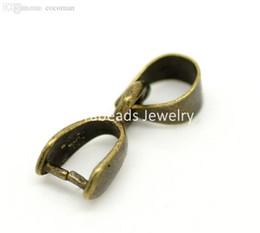 Wholesale Pinch Bails Bronze - Wholesale-50 Bronze Tone Pinch Clip Bail Beads Findings 12x5mm (B11563)8seasons