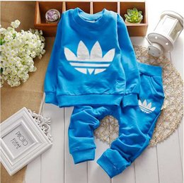 Wholesale Boys Sport Hoodies - new HOT 2016 children clothing sets spring autumn Girls Boys sports sets plaid hoodies pants twinset kids hooded Tracksuit