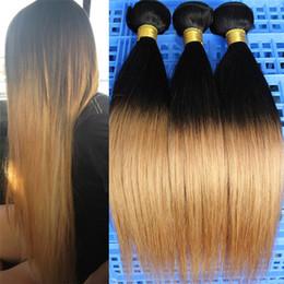 Wholesale Two Tone Hair Bundles - 10-30'' 3 or 4 Bundles Virgin Straight Brazilian Human Ombre Hair Extensions 1B 27,Two Tone Silky Straight Brazilian Ombre Hair Sew-In Weave
