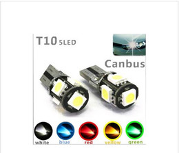 Wholesale W5w Led Error - 100PCS T10 5SMD 5050 led Canbus Error Free Car Lights W5W 194 5SMD LIGHT BULBS ERROR White Blue Red Pink Green wholesale