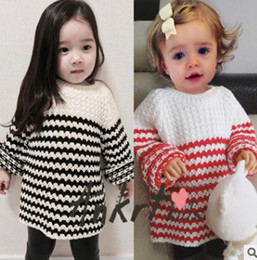 Wholesale Crochet Girl Pullover - Ins Toddler winter sweater baby girls boys hollow crochet stripe pullover children long sleeve knitting tops christmas kids clothing R0786