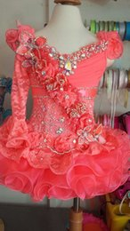 Wholesale Kids Ball Gowns One Shoulder - 2015 Princess One Shoulder Lace Crystal Coral Organza Mini Short Long Sleeve Ball Gown Girl Pageant Dresses Little Kids Flower Girl Dresses