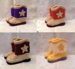 Wholesale Crochet Cowboy Toddler - Crochet cowboy girls booties,soft toddler shoes,cotton yarn infant snow boots,baby shoes,photp prop star unisex walker shoes.10pairs 20pcs