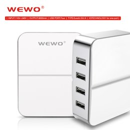 Wholesale Eu Socket Usb - WEWO 4 Ports Mobile Phone Chargers for Samsung White USB Charger for iPhone iPad EU UK USA Plugs 5V 6A Wall Sockets Adapter