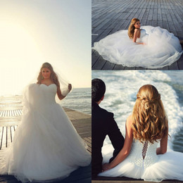 Wholesale White Line Ball Gowns - A-Line Wedding Dress Sweetheart Neckline Backless Sleeveless Heavy White Pearls Beads Handmade Lace-Up Chapel Train Tulle Ball Gown