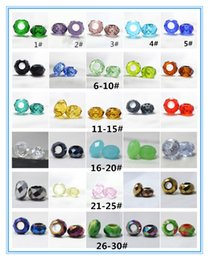 Wholesale Mixed Large Hole Beads - 30colors 8*14mm mixed Crystal glass European Beads Large Hole fit charms Fashion Jewelry pandora DIY wholesales