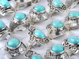 2019 anéis oval turquesa Atacado Lotes Jewerly 5PCS Mixed Turquoise Vintage Tibet prata anéis da forma oval redondo Design Anel de pedra anéis oval turquesa barato