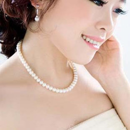 Wholesale Wholesale String Glass Beads - Elegant Lady String Glass Pearl Necklace Women Bead Necklace Beaded Necklaces Pendants Necklaces Imitation pearl Short Chain Chocker Jewelry
