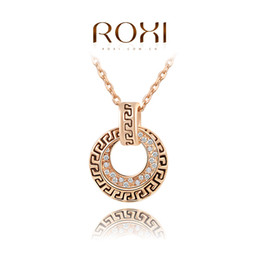 Wholesale Platinum Gold Coins - FG ROXI Brand New Year's Gift Vintage Necklace Retro Coin Pendant Necklace Rose Gold Platinum Plated Chain Necklace 2030021430
