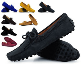 Wholesale Mens Red Loafers Suede - Mens Summer Genuine Leather Suede Breathable Moccasins Driving Shoes Loafer Shoes 8 Colors xx114 sapatos masculinos