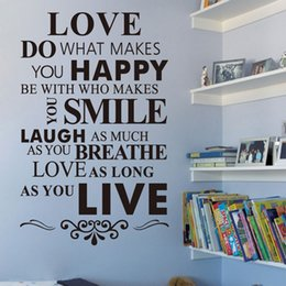 Wholesale Love Quote Wall Decals - Love Do What Makes You House Rule Wall Sticker Quotes and Saying Home Decoration Living Room Inspirational Decorative Wall Decals Quotes Art
