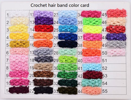 Wholesale Wide Crochet Elastic - 50 COLORS! 1.5 Inch Wide baby girl Elastic Crochet Top Headband for Children Hair Band Hair accessories drop shipping 200pcs