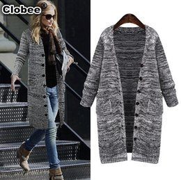 Wholesale Poncho Tricot - Wholesale- 2017 new autumn winter women sweater coat Single Breasted wool shirts poncho de inverno cardigan shrug for women tricot WA53