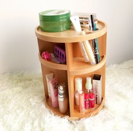 Wholesale Wood Bathroom Cabinet - 2015 New Style Multifunction 360 Degree Rotatable Natural Wood Makeup Storage Holder Skin Care Storage Cabinet