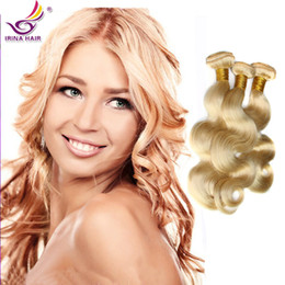 Wholesale New Star Brazilian Hair - New Star bleach Blonde color #613 Brazilian Virgin Hair Body Wave Cheap 100% Unprocessed Remy Human Hair weave wavy 3pcs lot mixed lengths