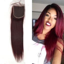 """Wholesale 4x4 Top Piece Hair - 100% Unprocessed Indian Lace Closure Hair Weave Closure Pieces red #99j 8""""-18""""(4x4) Straight Weave Virgin Human Hair Top Closures G-EASY"""