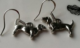Wholesale Antique Sterling Charms - 50 Pair Fashion Antique Silver Alloy Dachshund Dog Charms 925 Sterling Silver Drop Earrings For Women Jewelry DIY Girls Bijoux P1528