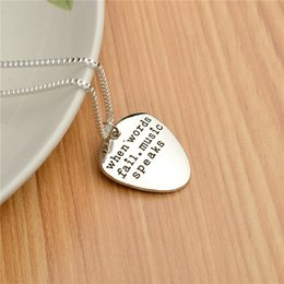 Wholesale Silver Guitar Picks - High Quality Letter Pendant Choker When Words Fail Music Speaks Silver Necklace Guitar Pick collier femme jewelry collier anime