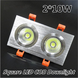 Wholesale Spotlights Grille Lamp - Dual LED COB Spotlight 2*10W 20W 3*10W 30W Full Set Lamp Square Ceiling Grille Lamp Double Slider COB Lighting Warm Cold White