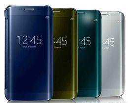 Caja de borde s6 claro online-estuches inteligentes para espejos Cubierta para vista clara PC Cubierta para carcasas transparente con cajas para minoristas Para Samsung Galaxy S6 S6 Edge más S7 S7 edge Nota 5