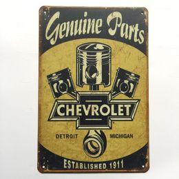 Canada Véritable Pièces Chevrolet Rétro Vintage En Métal Tin poster affiche pour Man Cave Garage minable sticker mural chic Café Bar décor à la maison Offre