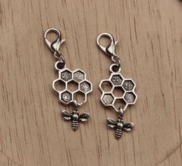 Wholesale Antique Mic - MIC Antique Silver Bee Dangle Bead with Lobster clasp Fit Charm Bracelet 41x13mm(417)