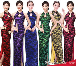 Wholesale Silk Long Cheongsam - 5176# Chinese Dresses Evening Dress Open fork lace Chinese style dress sexy female long cheongsam red pink yellow green blue purple