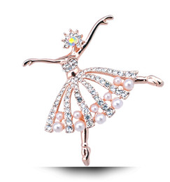Wholesale Ballet Pins - Gold And Silver Crystal Ballet Girl Cute Fashion Brooch 2016 European And American Popular For Women Free Shipping YPQ0451