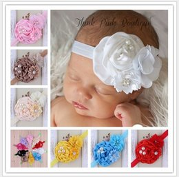 Wholesale Headband Lace Pearls - 2016 New Childrens Accessories Kids Lace Big Flower Pearl Headbands For Girls Infants Baby Headdress Baby's Head Band Kids Princess Hairwear