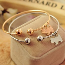 Wholesale dog cuffs - Charm Bracelets Women Fashion Jewelry Bangles Cuff Bracelet Charming Cute Pully Pendant Gold Silver Alloy Little Dog Bangles bracelet jonc