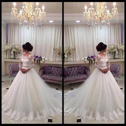 Wholesale Scalloped Lace Neckline Dress - 2016 New Arrival Scalloped Neckline Long Lace Sleeves Ball Gown Crystal Belt Bridal Wedding Dresses Vestido De Noiva 2015