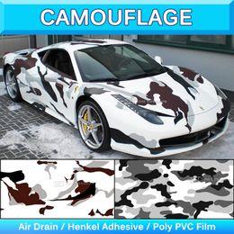 Wholesale Car Vinyl Wrap Camouflage - Military Snow Camo Vinyl Sticker Snow Camouflage Vinyl Sheet Truck Wrap Car Decal Camo Vinyl Bubble Air Free 1.52x30m 5x95Ft
