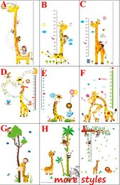 Wholesale Growth Up Chart - Wall Stickers for Height Measure Giraffe Elephant Kids Growth Chart Sticker For Kids Rooms   DIY Home Decoration Animal Tree Grow Up Sticker