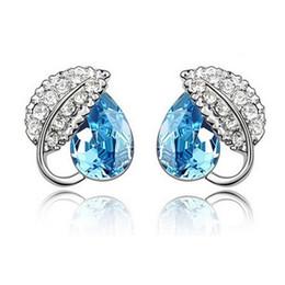 Wholesale Swarovski Shape - Silver Plated Crystal Stud Earrings For Women Best Gift Jewelry Leaf Shape swarovski crystal earrings Jewelry 4172