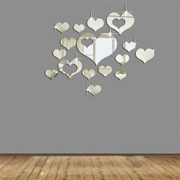 Wholesale Fashion Television - Fashion Plastic Acrylic Sticker DIY Heart Shaped 3D Mirror Wall Stickers Silver Waterproof Paster Simple Generous 10bj B