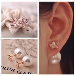 Wholesale Pierced Earings - Elegant fashion brand jewelry double side pearl stud earrings for women Pierced crystal earings Free shipping