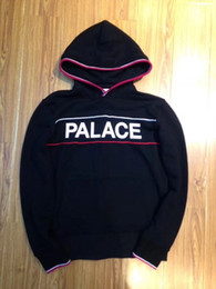 Wholesale Hood Panel - 2018 cool hot hip hop Palace handle hood black up men unisex Panelled stripe hoodie M to XL