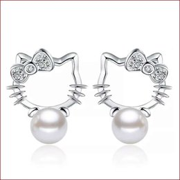 Wholesale Hello Wedding - 925 sterling silver items jewelry pearl stud earrings hello kitty shaped vintage wedding girl ethnic charms