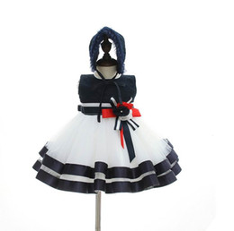 Wholesale Wedding Dress Elegant Hat - Baby Girl Elegant Dress For Wedding Party Flowers Blue White Tulle Princess Birthday Dress + Hats Children Clothing 0-2Y E9701