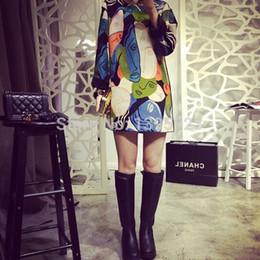 Alto Qaultiy 2015 Moda Primavera Invierno Sexy Mujeres Color-Mix Imprimir Cara Vestidos de manga larga Casual Multi Color Elegante Vestido desde fabricantes