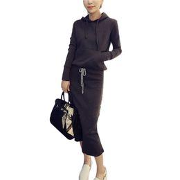 Wholesale Hoody Sweeter - 2016 New Autumn Women Hoodies 2 Pieces Set Drawstring Skirt Full sleeve Slim Sweatshirt Hooded Sweet Gray Hoody+Skirt moleton