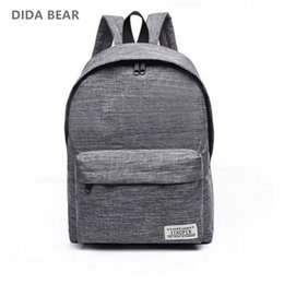 Wholesale Travel Backpack Laptop Compartment - Canvas Men Women Backpacks Large School Bags For Teenager Boy Girls Travel Laptop Backbag Mochila Rucksack Grey
