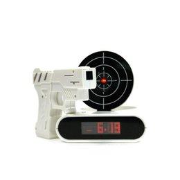 Wholesale Cool Novelty Guns - 36PCS lot Laser Target Desk Shooting Gun Digital Alarm Clock Cool Gadget Toy Novelty With Red LED backlight 1113#13