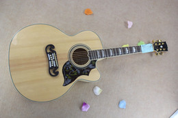 Wholesale Electric Acoustic Spruce - Free shipping Custom Shop Hot Selling Dot Spruce Beige 6 Strings Electric Acoustic Guitar With Fisherman Pickups in stock